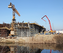Construction of the bridge across the DTD Canal, Novi Sad, Serbia