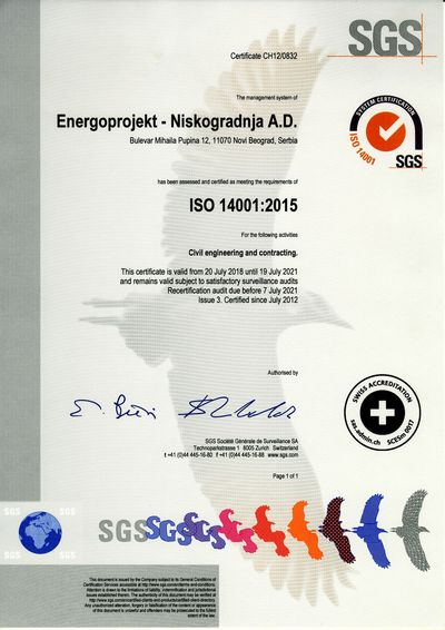 Certificate ISO 14001:2015